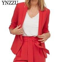 YNZZU Spring Autumn red Seven-quarter sleeve female blazer Loose causal soild women suit Chic no button OL jacket YO803
