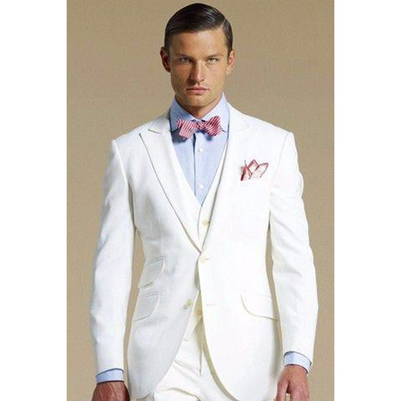 115 White groom suits peaked Lapel Tuxedos Wedding suits for Men New groomsmen suits men three piece Suit (Jacket+Pants+vest)