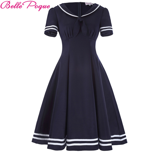 e31824d454d Belle époque robe de marin femmes 2018 grande taille arc été rétro robe  Vintage 50 s