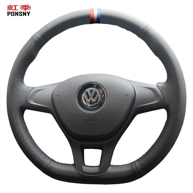 PONSNY Artificial Leather Car Steering Wheel Covers for Volkswagen VW Golf 7 Mk7 New Polo 2014 2015 2016 2017
