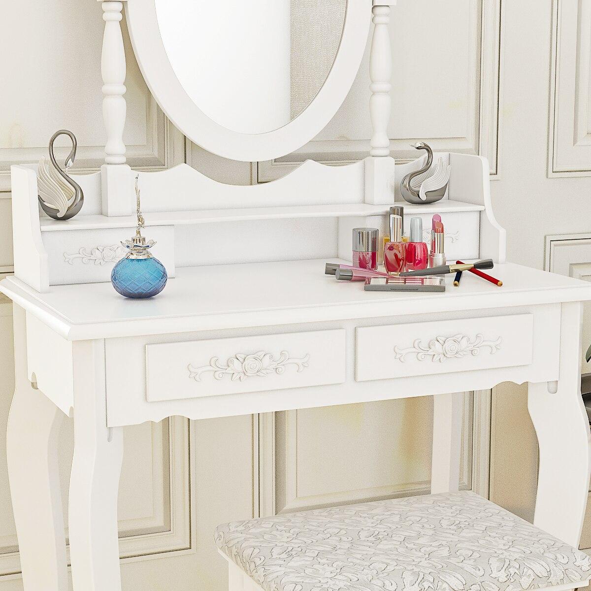Panana 4 ящика туалетный столик набор туалетный столик с мягким табуретом спальня макияж стол черный - 6
