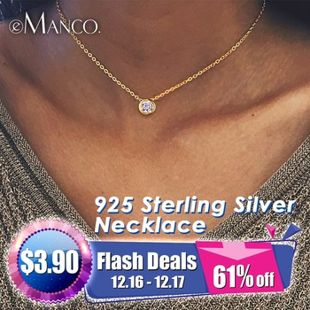 e-Manco 925 Sterling Silver Necklace Simple CZ Cubic Zirconia Pendant Necklace for Women Gold Color Wedding Jewelry Fashion