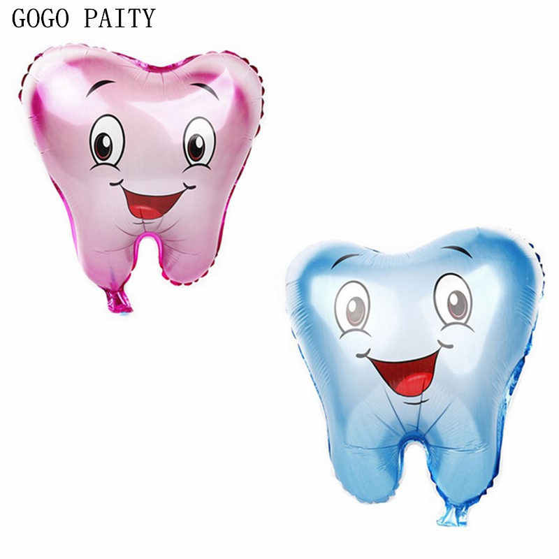 GOGO PAITY  New Cartoon Tooth Shaped Aluminum Balloons Holiday Party Wedding Decoration Balloons Self-sealing