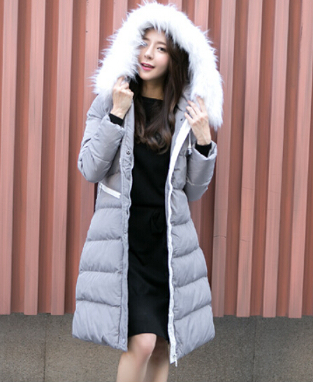 Women winter Europe and America fur collar thick warm loose casual solid long down coat jacket plus size free shipping