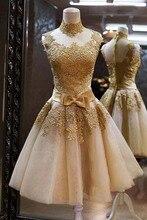 2016 heißer Verkauf Günstige High Neck Gold Spitze Cocktailkleid Dame mädchen Kleid Vestidos de Gala Kurzes Abend-abschlussball Mit Bogen gürtel