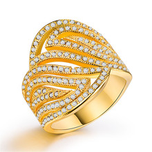 Rose gold rings Diamond ring moissanite opal Fashion ladies plated with 18k yellow and zircon golden jade  B843