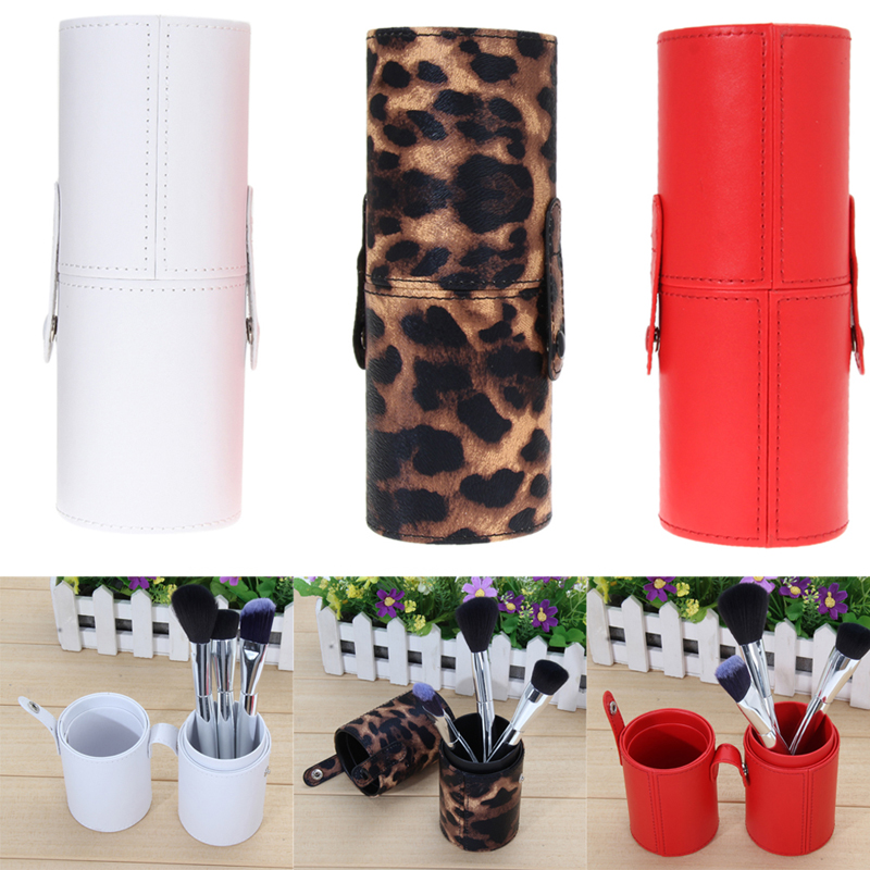 3 Color PU Leather Travel Cosmetic Brush Pen Holder Storage