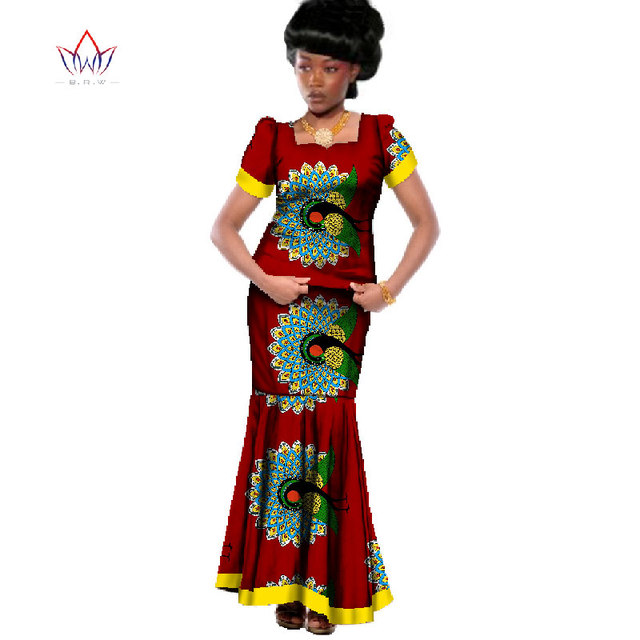 African Traditional Clothing Women Two Pieces Set Clothing Print