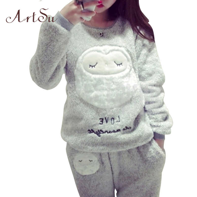 ArtSu Winter New Thickened Cute Sleeping Owl Coral Fleece Pajamas Home Furnishing Suit Coral Velvet Home Wear Leisure Wear 9123