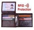MRF8 RFID Bloqueo De Carteras de Cuero Genuino Cartera Para Hombre negro marrón color titular de la tarjeta de IDENTIFICACIÓN y tarjeta de permiso de conducir