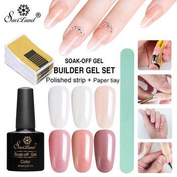 Saviland 3pcs/set DIY Poly Gel Extension Builder Nail Art Gel Polish Quick Building Nails Art Tips Jelly Gum Hard Gel Glue artificial nails
