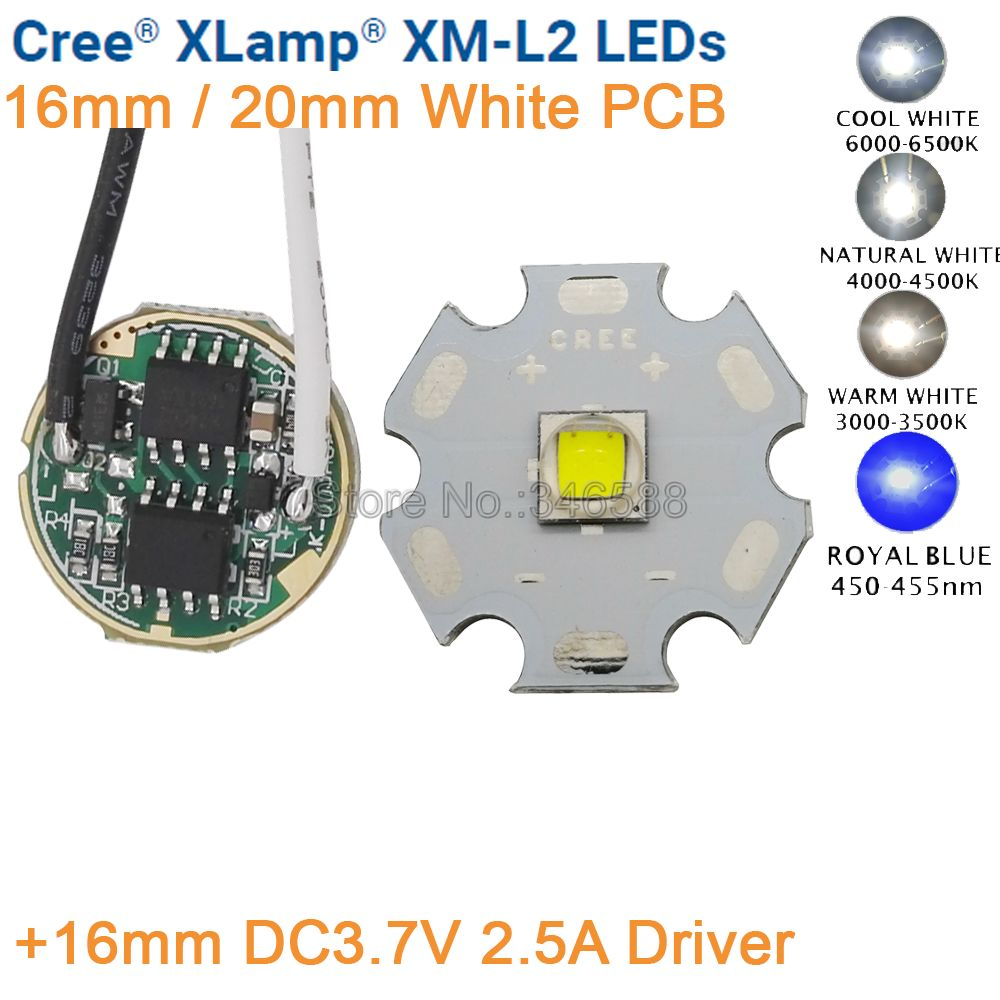 Cree 16mm DC3.7V 2.5A Driver 5 Mode +XML2 XM-L2 T6 Cold White Neutral White Warm White 10W High Power LED Emitter 16mm White PCBCree 16mm DC3.7V 2.5A Driver 5 Mode +XML2 XM-L2 T6 Cold White Neutral White Warm White 10W High Power LED Emitter 16mm White PCB