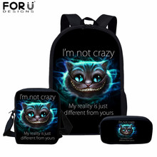 FORUDESIGNS 3D Smile Cheshire Cat Prints Multifunction Backpack School Bags for Teenagers Girls 3pcs Funny Kids Schoolbags