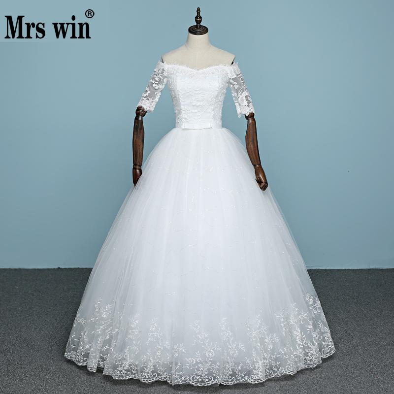 2019 New Arrival Engerla Half Sleeve Wedding Dress Boat Neck Lace Up Ball Gown Princess Simple Lace Wedding Frock