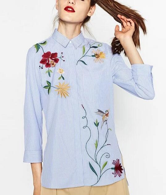 bbb8b768d € 10.51 27% de DESCUENTO|2016 nuevas mujeres de manga larga de rayas de  flores bordadas blusas camisa de moda de las mujeres de la espalda bordado  ...