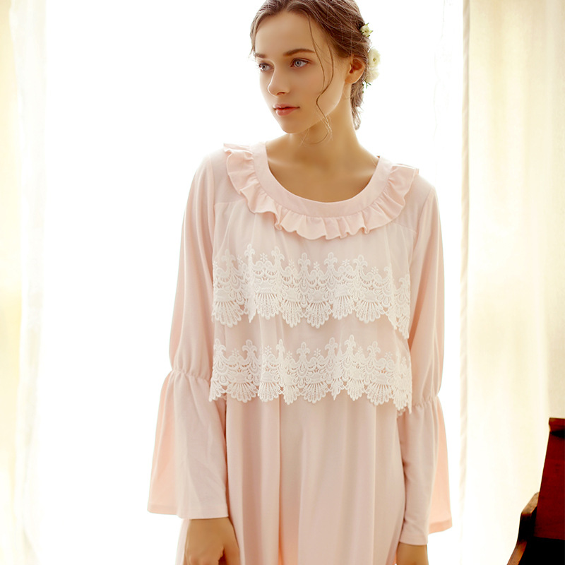 Autumn Winter Palace Decals Two Laps Lace Long Sleeve Sleepwear Long Nightgown Warm Princess Women Nightdress Home dess