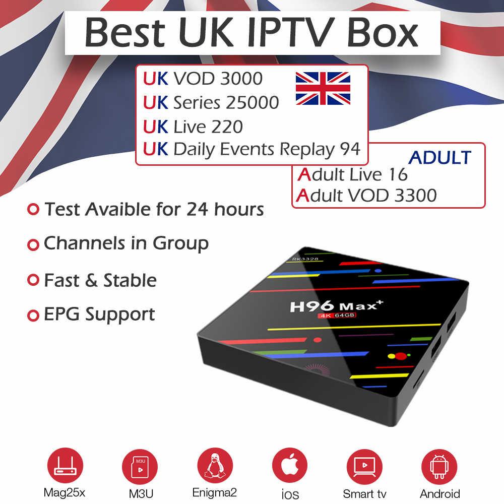 H96Max + Android 9,0 IPTV BOX RK3328 2,4G & 5G Wi-Fi 4 K H.265 4G/64G с живыми и VOD взрослых UK IPTV подписка Европа Media Player