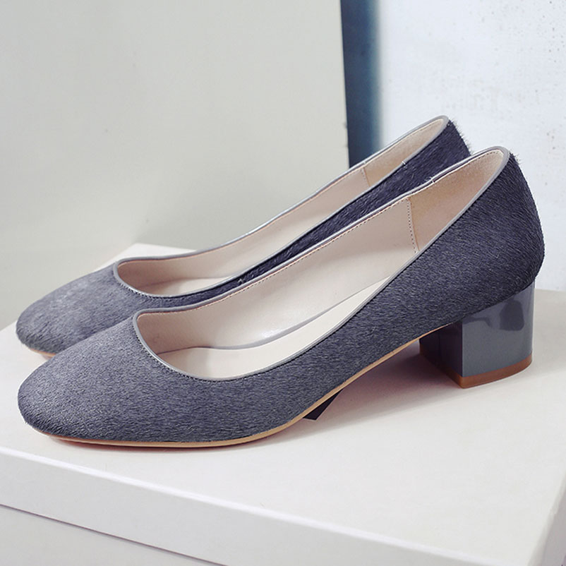 ФОТО 2017 Spring Shoes Woman Med Heel Pumps Fashion Pink Gray Ladies Shoes Real Horsehair Footwear brand Women Pumps