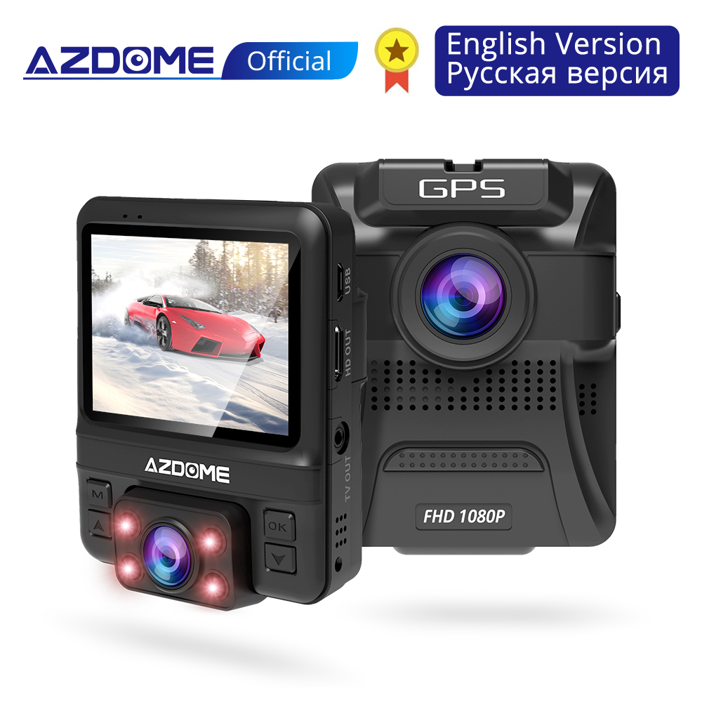 AZDOME GS65H Original Mini Dual Lens Car DVR Dash Cam Front Full HD 1080P / Rear 720P Video Recorder Car Camera Night Vision GPSAZDOME GS65H Original Mini Dual Lens Car DVR Dash Cam Front Full HD 1080P / Rear 720P Video Recorder Car Camera Night Vision GPS