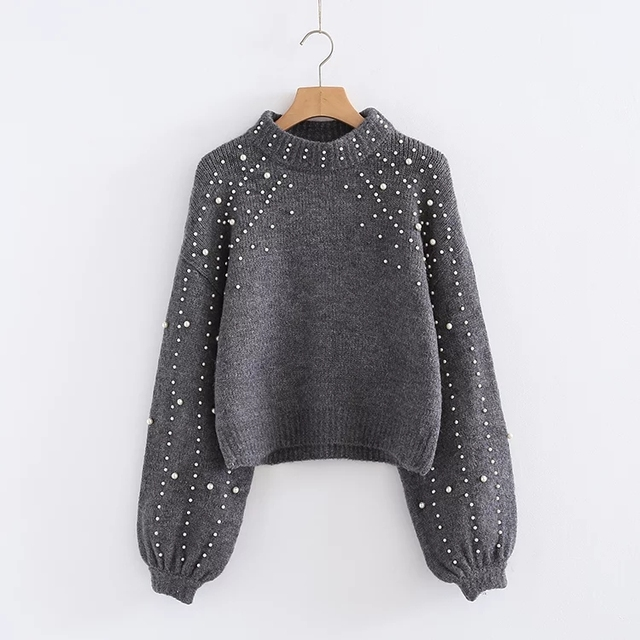 Korean Style winter gray peal sweater Women Pullover beading ...