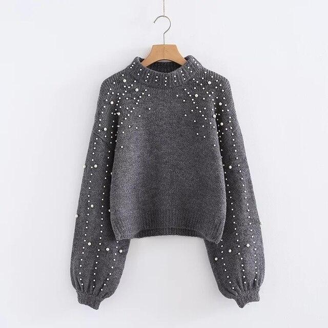 Extrêmement Modèle coréen d'hiver gris peal chandail Femmes Pull perles  IW26