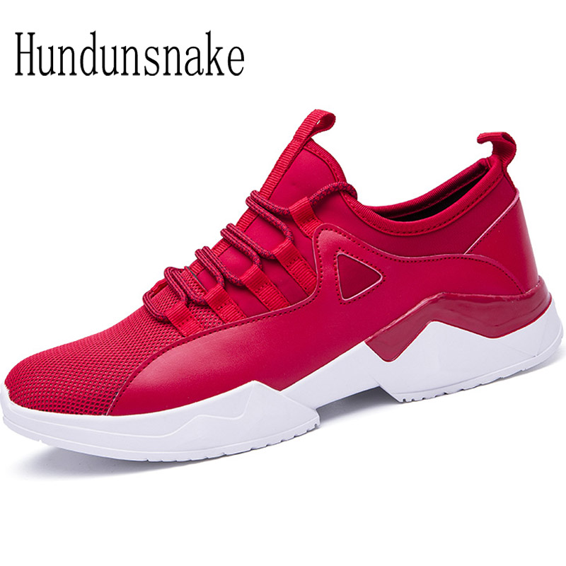 Hundunsnake Red Sneakers Men Sport Shoes Male Adult Running Shoes For Men Krasovki 2017 Gym Shoes Athletic Jogging Gumshoes T407