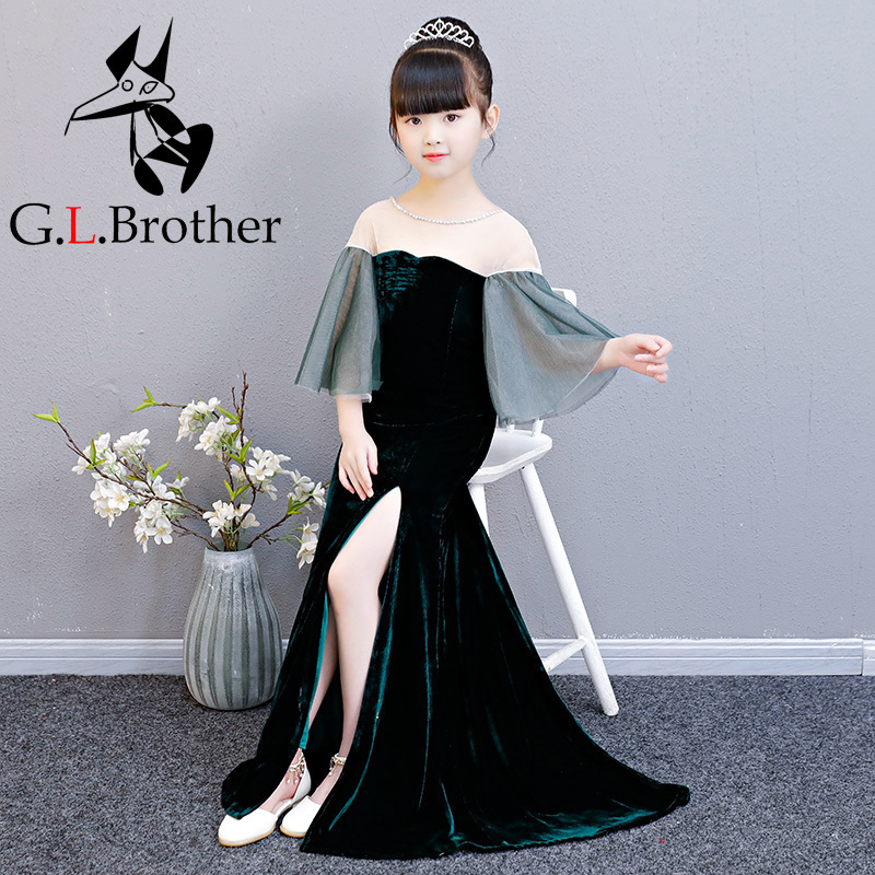 Velvet Kids Girl Formal Dress Long Tailings Flower Girl Dress Flare Sleeve Birthday Tutu Princess Dress Mermaid Girl's Dresses long sleeve flare choker dress