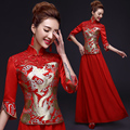 1pcs/lot free shipping long section chinese style dragon and phoenix pattern cheongsam dress winter red married bride dress