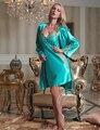 Новый 2017 Женщин Халат Наборы Эмуляции Шелковые Кружева Ночной Рубашке V-образным Вырезом Twinset Ночная Рубашка Полный Рукавом Твердые Пижамы Бесплатная Доставка 1523