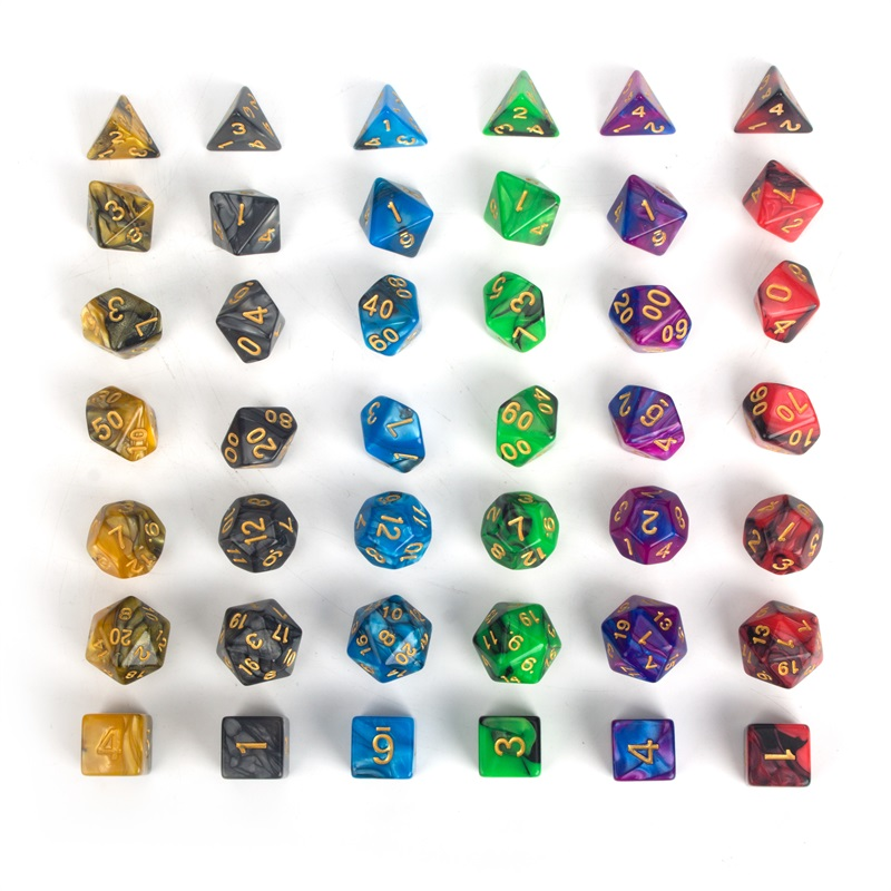 Premium Dice Set of 42 Pieces 6 Colors 7 of Each Color Bag Polyhedral Dice with