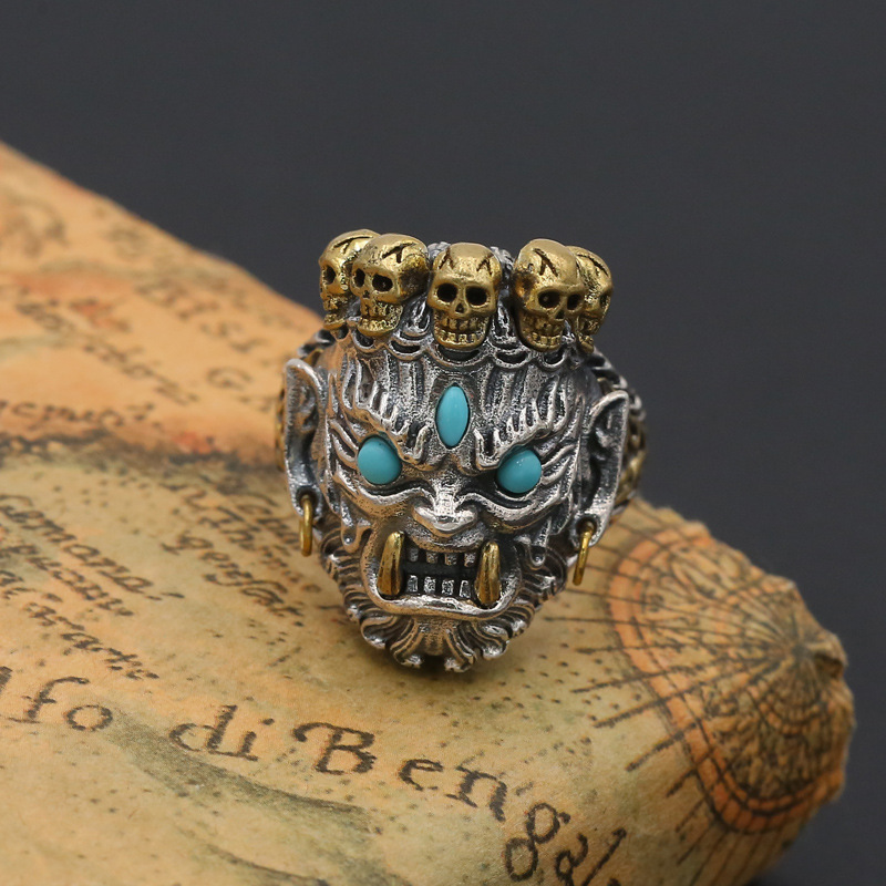 FNJ Skull Ring 925 Silver Jewelry Blue stone New Fashion Punk S925 Sterling Silver Rings for Men Adjustable Size 9-12 bagueFNJ Skull Ring 925 Silver Jewelry Blue stone New Fashion Punk S925 Sterling Silver Rings for Men Adjustable Size 9-12 bague