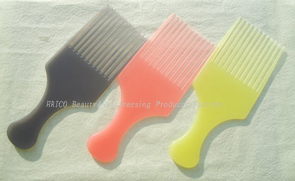 wholesales, 10pcs/lot, AFRO PICK with color Fist~HOT!~plastic african hair comb, +free shipping