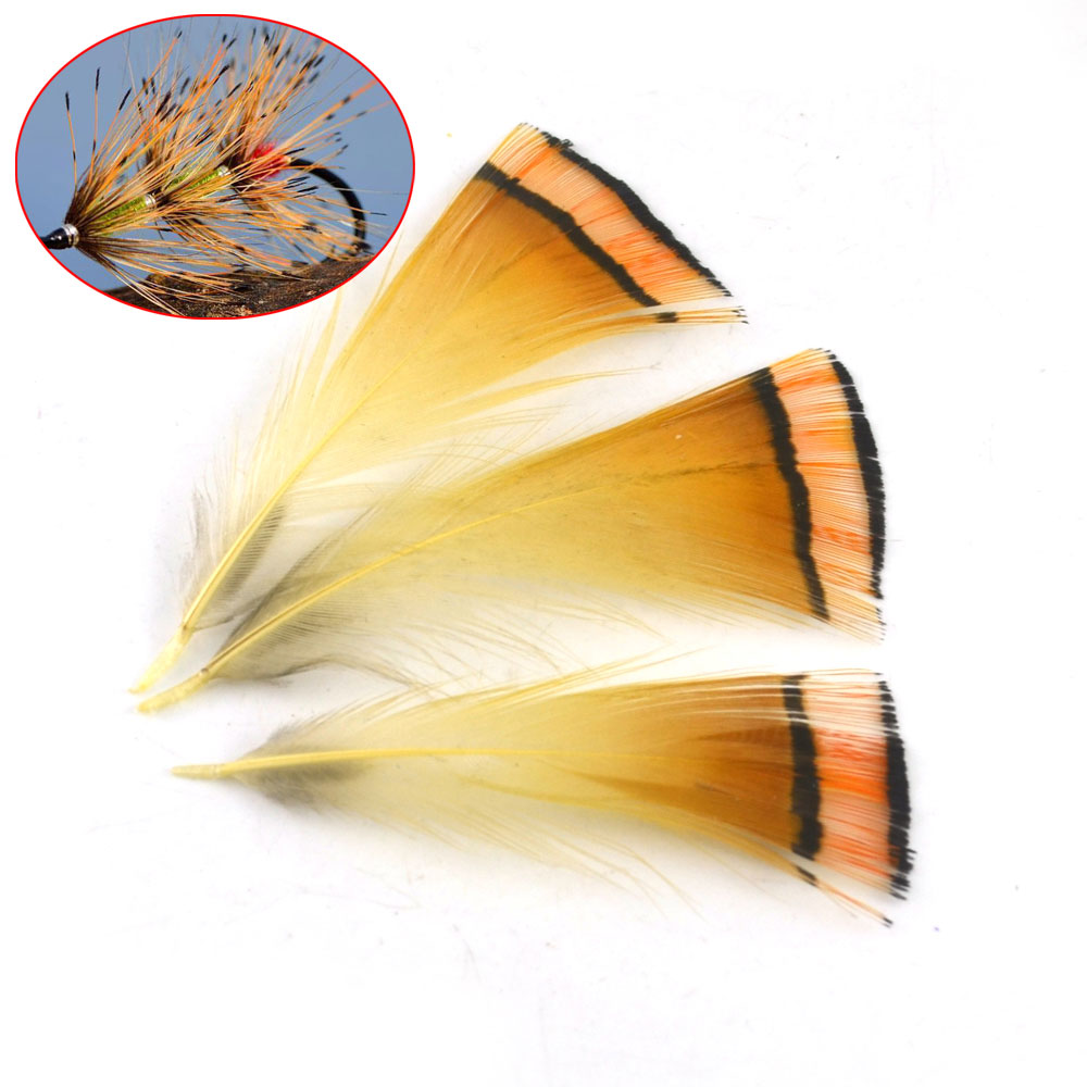Mnft 50pcs real natural golden pheasant tippet feather for Fly fishing tippet