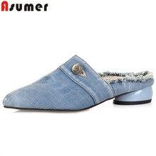 920ac42c9b ASUMER 2019 apartamentos novos sapatos mulheres dedo apontado rasa mulas  sapatos slingback mulheres senhoras confortáveis sapatos