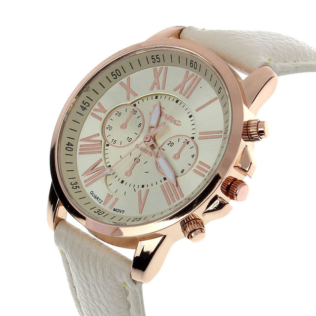 Fashion Watches Geneva Women Casual PU Leather Bracelet Roman Numeral Quartz Wri
