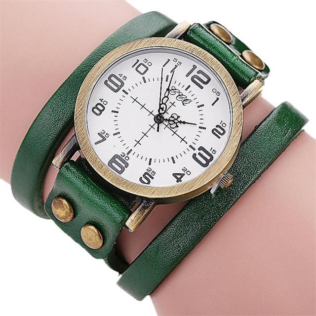 Luxury Brand Vintage Cow Leather Bracelet Watch Men Women Wristwatch Ladies Dres