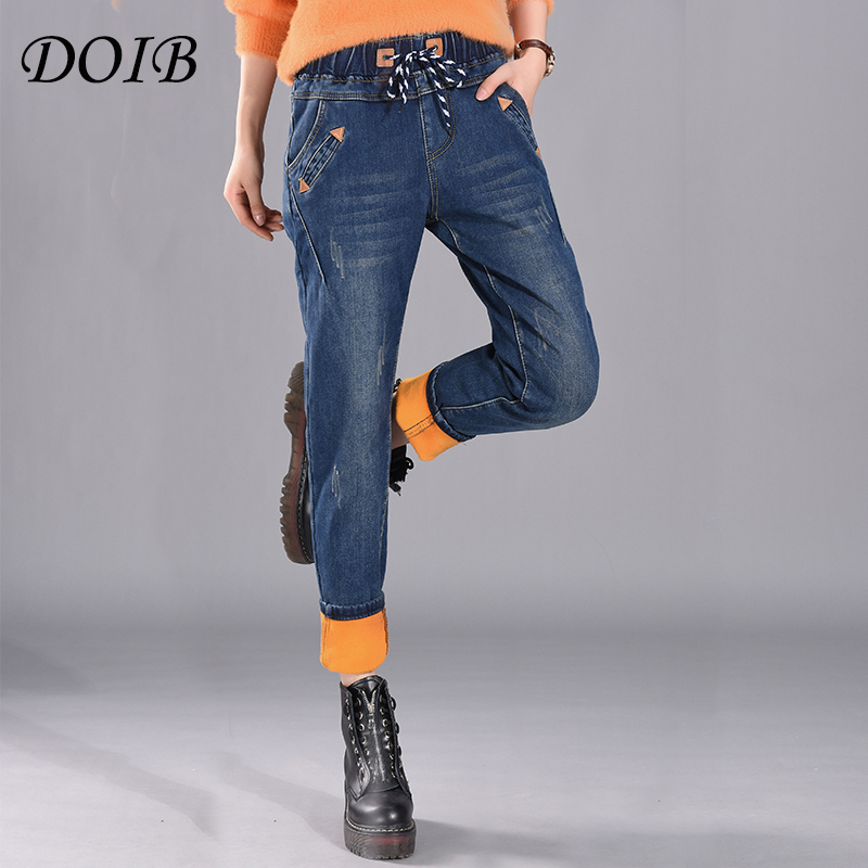 DOIB 2019 Winter Thick Warm Jeans Woman Plus Size Sexy Fleece Denim Pants Women Blue Big Size Cowboy Pencil Velvet Trousers 6XL