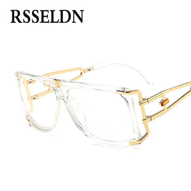 16eb95280b placeholder RSSELDN 2018 Big Square Glasses Women Optical Frame Brand  Luxury Black Designer Eye Glasses Frames For