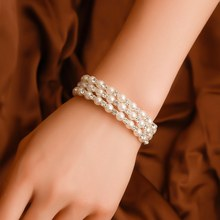 Pearl Rhinestone Bracelet Woman Rubber Band Three-Layer Pearl Bracelet Ladies Winding Bracelet Bridal Jewelry(China)