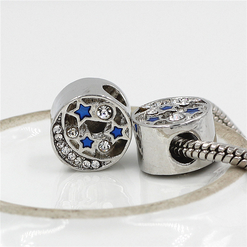 DGW Blue Starry Sky Bead Fit Original Pandora Bracelet Charm Full Rhineston Charm Beads Women Bracelet & bangle Free shipping