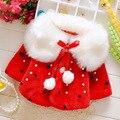 Otoño invierno Niñas Bebés Faux Fur Fleece Imitación Perlas Princesa Embroman la Capa Del Cabo Del Capote prendas de Vestir Exteriores casaco roupas de bebe