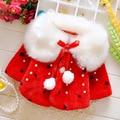 Winter Autumn Baby Girls Faux Fur Fleece Imitation Pearls Princess Outerwear Coat Kids Cloak Cape roupas de bebe casaco