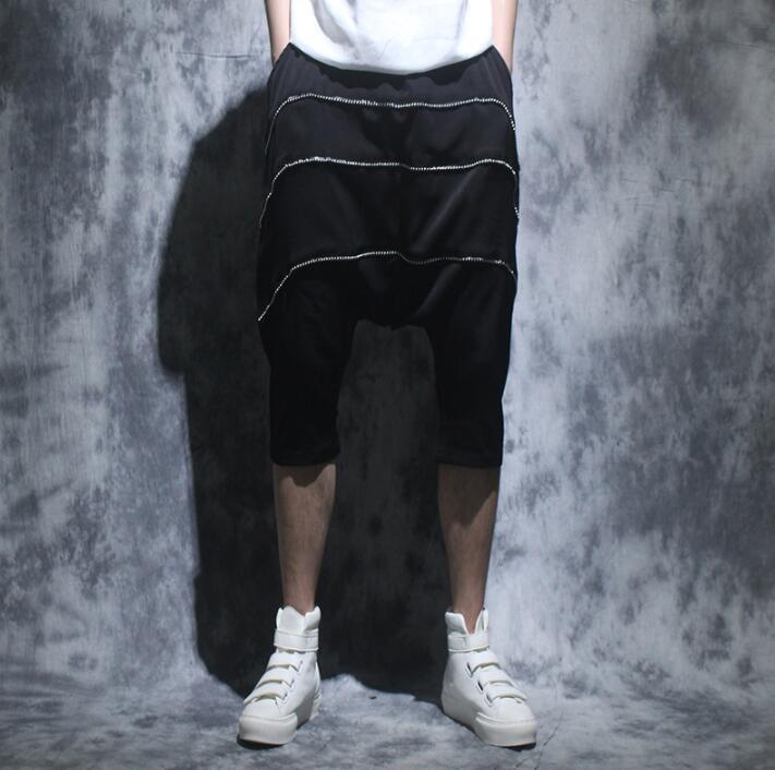 Summer personality Line design harem pants mens loose trousers pantalones hombre cargo feet pants for men pantalon homme black