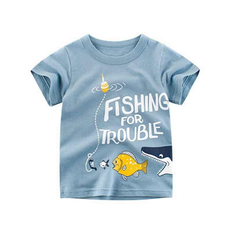Loozykit/хлопковая Футболка для мальчиков 2019 г. Летняя Милая футболка с короткими рукавами и круглым вырезом с принтом акулы из мультфильма для детей, футболки для мальчиков, топы