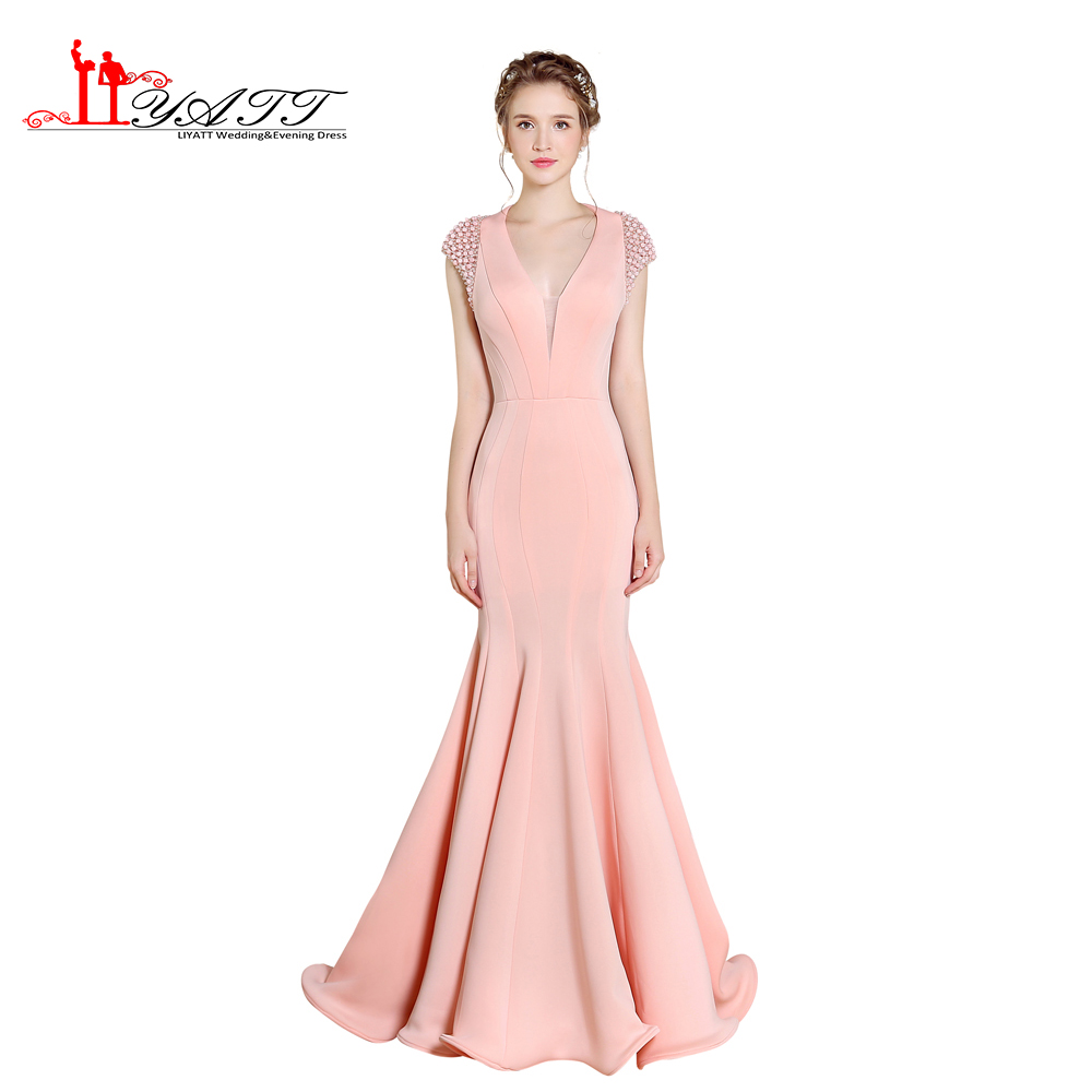 Real Photo 2017 Nouveau V-cou Perle Rose Espace Coton Sexy Sirène Simple Discount Pas Cher Robe De Bal Robe De Soirée LIYATT
