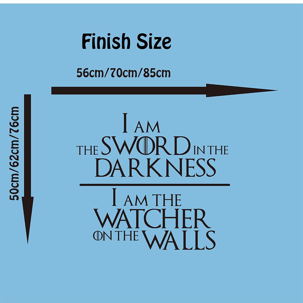 Game of Thrones  Knights Watch Oath Quote Wall Decal Nursery Kids Room Game of Thrones Sword Inspirational Quote Wall Sticker  (1)