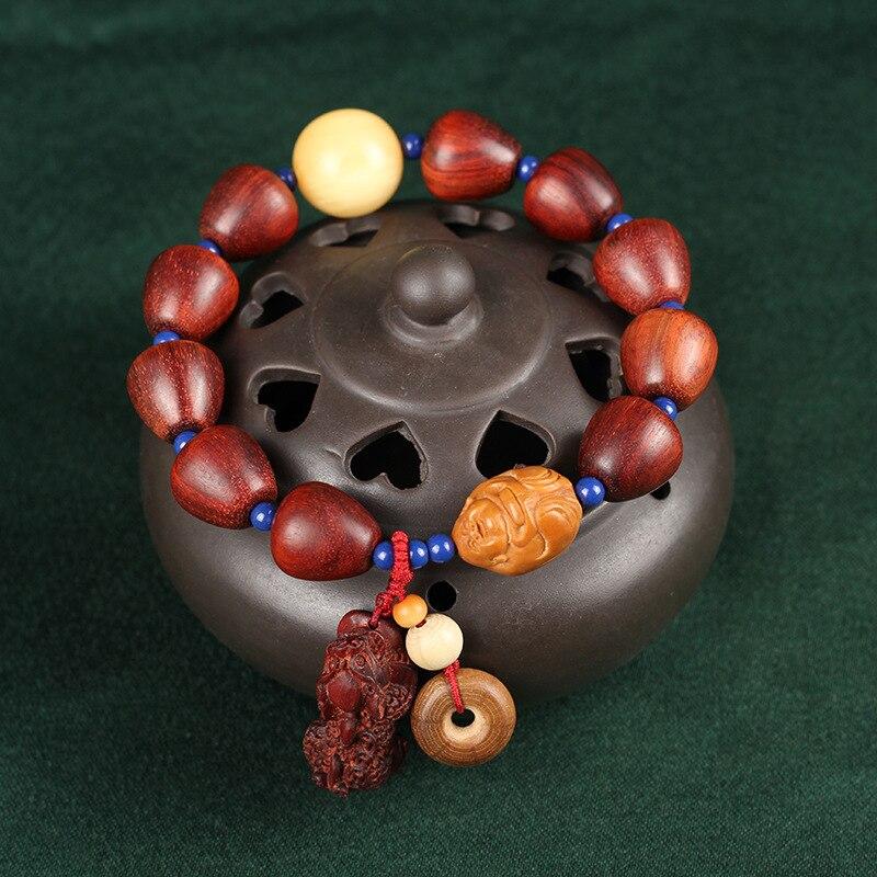 Lobulären rotem sandelholz fabrik für derivat strahlen mit alten material gold entlang der wasser tröpfchen perlen runde hand string - 3