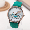 2016 Fashion Brand Quartz Watches Bicycle Pattern Cartoon Watch Women Casual Vintage Leather Girls Kids Wristwatches gifts Clock