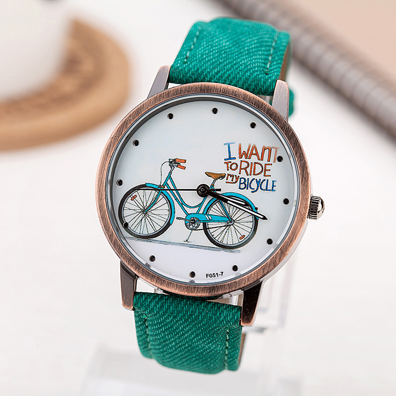 2017 fashion brand quartz watches bicycle pattern cartoon watch women casual vintage leather for Watches brands for girl