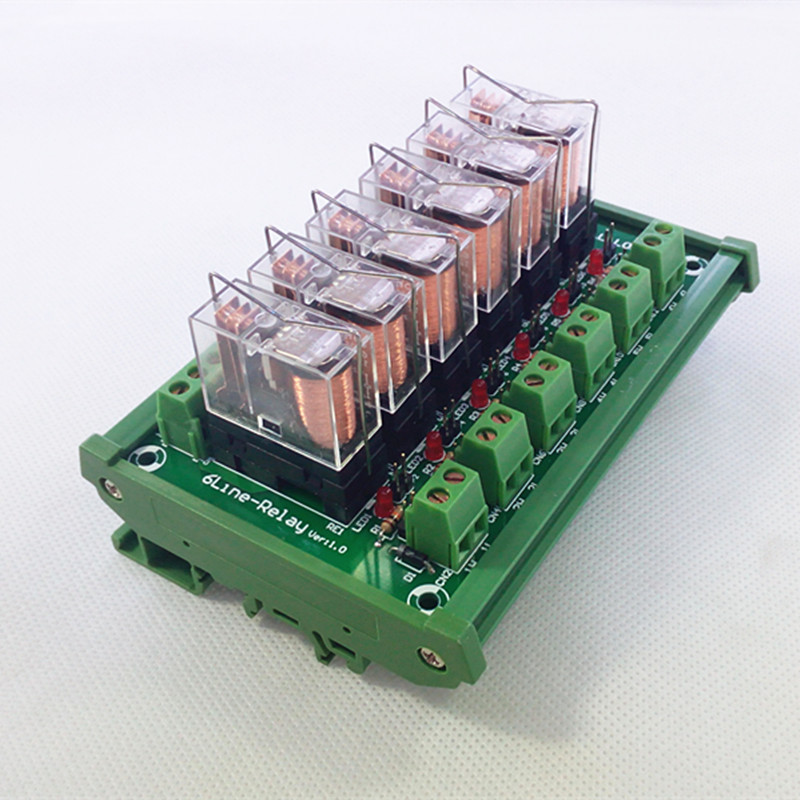 DIN Rail Mount 6 SPDT 16A Power Relay Interface Module,OMRON G2R-1-E DC24V Relay.
